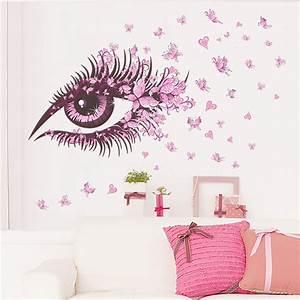 Fairy wall stickers flowers sexy girl eye butterfly love