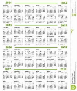 Año Nuevo Del Calendario 2014 2015 2016 2017 Ilustración