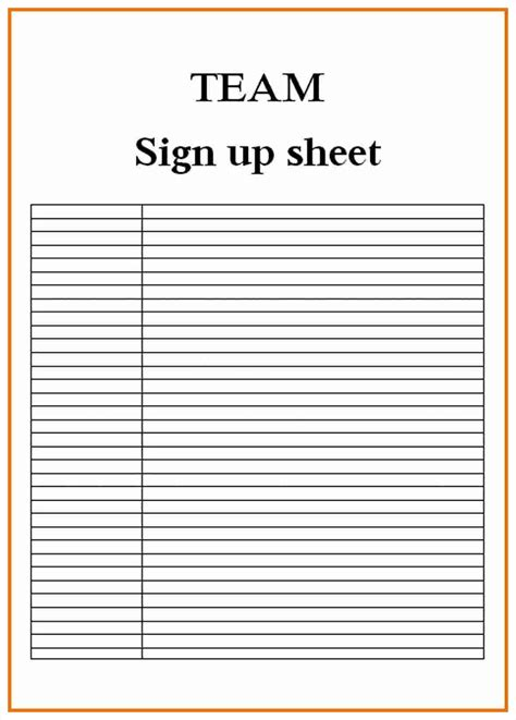 Sign Up Sheet Template Blank Sign Up Sheet Exle Mughals