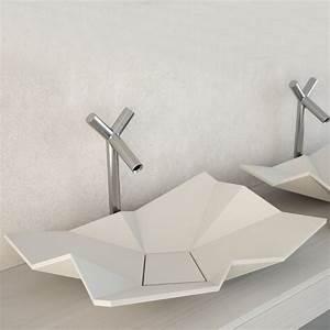 Vasque à Poser Design : vasque design poser origami eumar sdebain ~ Edinachiropracticcenter.com Idées de Décoration