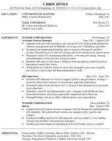 resume format for managers management resume exle