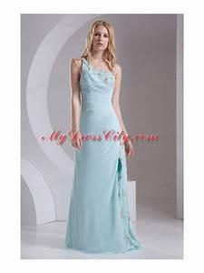 Column One Shoulder Chiffon Beading High Slit Prom Dress ...