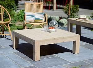 Table Exterieur En Bois : table basse de salon ou de jardin en bois brut riviera vue ~ Teatrodelosmanantiales.com Idées de Décoration