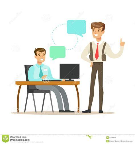 dessin bureau coll gues travaillant dans le bureau moderne avec l ordinateur