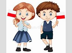 Boy And Girl With Poland Flag Stock Vector Illustration