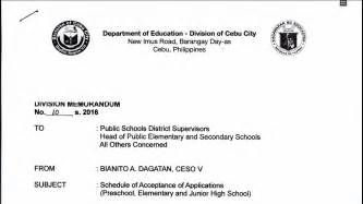 high school applications online deped cebu city 2016 schedule of acceptance of