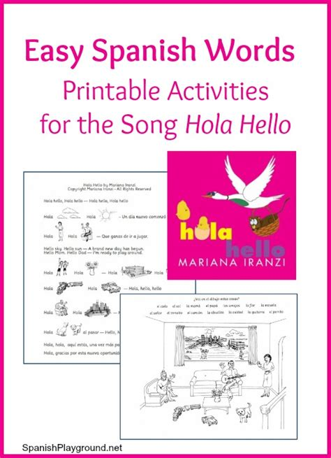 easy words printable activities for the song hola 877   easy spanish words hola hello