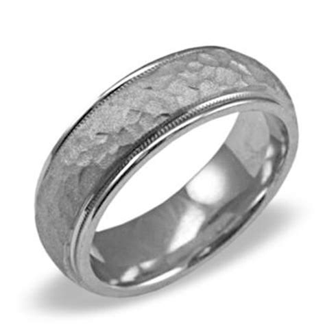 mens wedding ring with hammered finish engagement