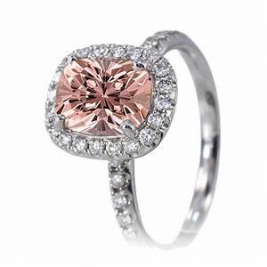 2 carat unique morganite and diamond bridal ring set on With 2 carat diamond wedding ring set
