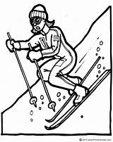 Coloring Ski Mountains Drawing Skiing Downhill Skier Sketch Template Dessin sketch template