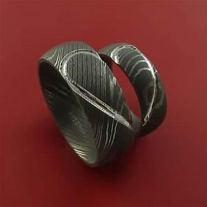 matching damascus steel heart carved ring set wedding bands With timascus wedding ring
