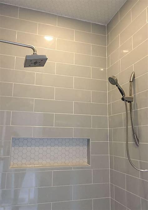 linear light gray shower wall tile  hexagon mosaic