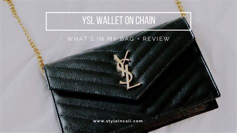 ysl wallet  chain whats   bag review youtube