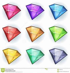 Cartoon Gems And Diamonds Icons Set Stock Vector - Image ...