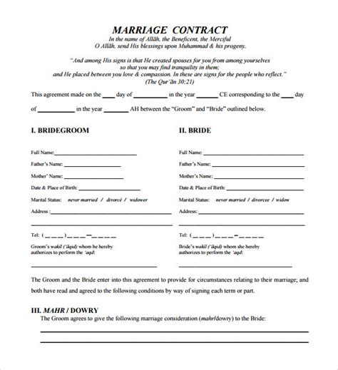 sample wedding contracts  google docs ms word