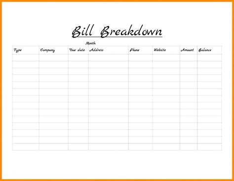 Bill Template Template Template For Monthly Bills