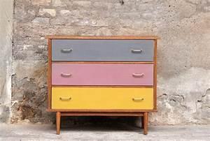 Commode À Peindre : commode vintage couleurs 3 tiroirs gentlemen designers ~ Carolinahurricanesstore.com Idées de Décoration