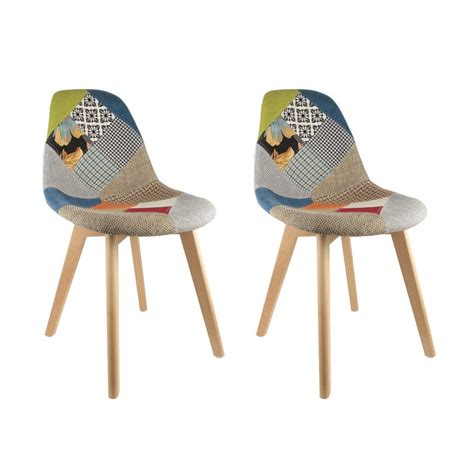 chaises design scandinave lot de 2 chaises design scandinave patchwork coloré