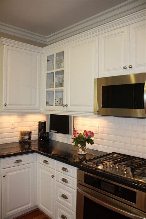 beveled subway tile backsplash kitchen traditional