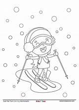 Coloring Skiing Fun Cartoon Snow Sheet Kidzezone Worksheet Fine Motor Pdf sketch template