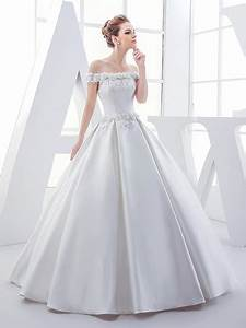 off the shoulder flowers sequins matte satin ball gown With off the shoulder satin wedding dress