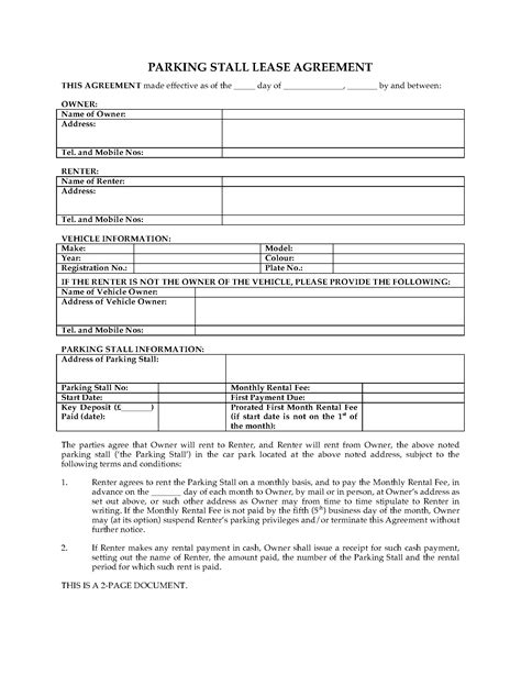 uk parking stall lease agreement legal forms