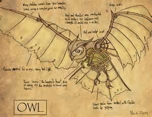 Steampunk Mechanical Owl Drawing