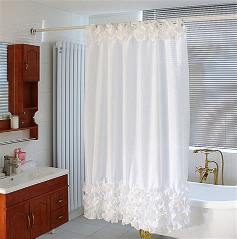 18x18m White Shower Curtain Cascading Waves White Lace