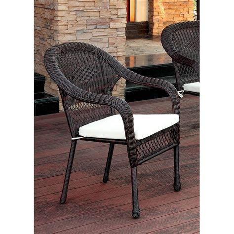 furniture of america levi patio wicker arm chair in brown