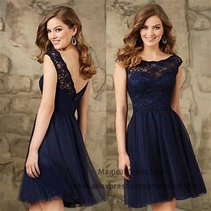 Modest short navy blue bridesmaid dresses lace abiti for Navy blue wedding guest dress