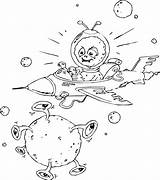 Alien Space Ship Coloring Pages Spaceship Flying Aliens Getcoloringpages sketch template