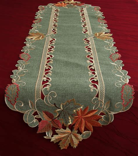 yellow gold table runner autumn leaves table runner tablecloth linen look green