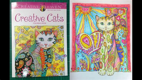 colouring book review creative cats walk   tips  coloured pages youtube