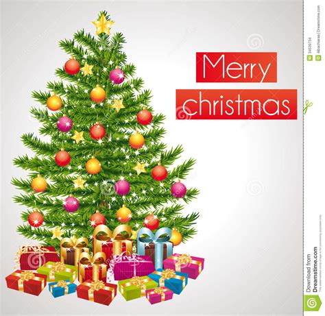 merry christmas greeting card  decorated tree stock