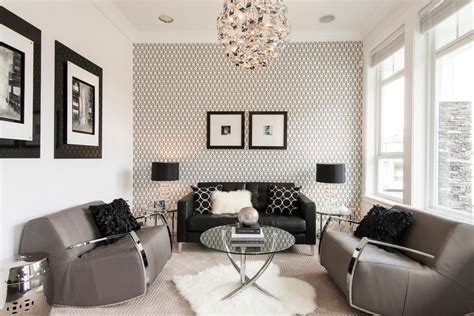 Wallpaper Living Room Contemporary With Black Sofa Black