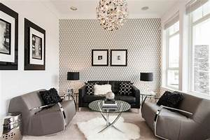 Wallpaper Living Room Contemporary With Black Sofa Black ...