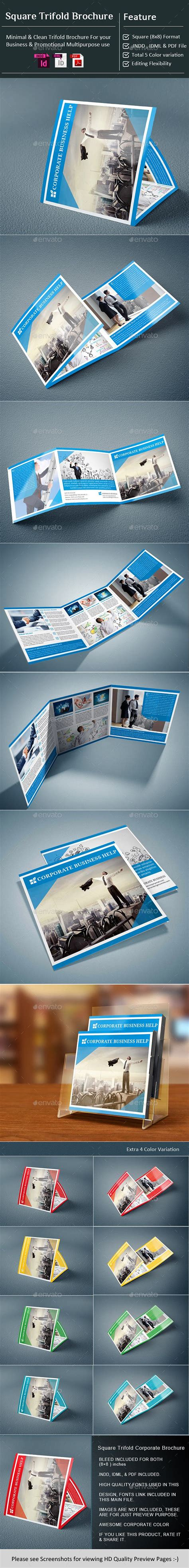 InDesign - Corporate Square Tri-Fold Brochure | Trifold ...