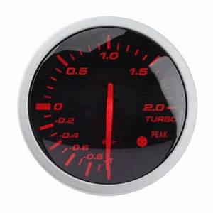 60mm 2 5in Racing Car Turbo Boost Gauge White  Red Light