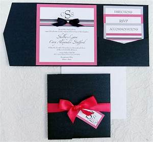 ribbon rhinestone wedding invitation pocket With red rhinestone wedding invitations