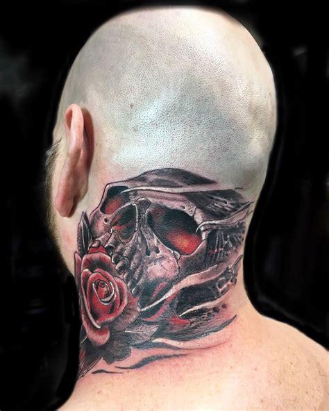 skull  rose head tattoo  francisco ordonez atdarksideofthewall tattoo head tattoos