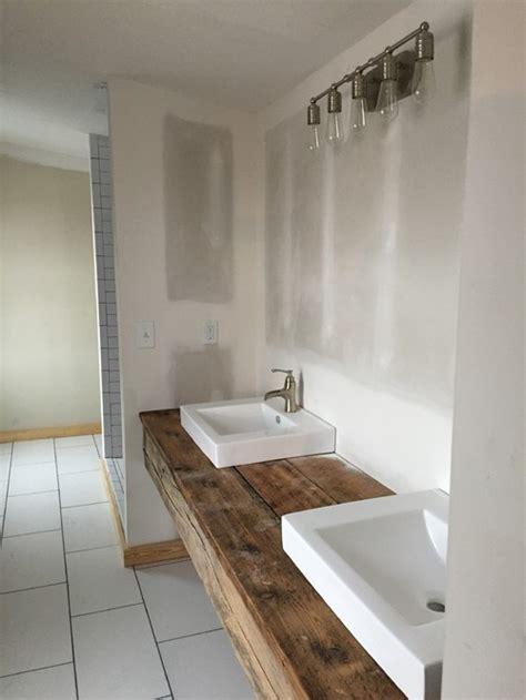 floating wood vanity storage ideas for a floating reclaimed wood vanity