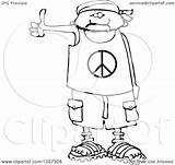 Cartoon Peace Shirt Wearing Shorts Outline Human Bandana Clipart Male Hitchhiker Sandals Drawing Illustration Royalty Lineart Vector Djart Cox Dennis sketch template
