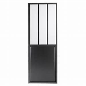porte coulissante aluminium noir atelier verre clair With porte de garage coulissante jumelé avec serrurier 93