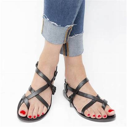 Sandals Leather Strappy Womens Handmade Cuir Flat