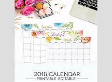 2018 Printable Calendar Template PDF January 2019 Calendar