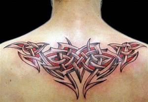 Tribal Celtic Red Ink Tattoo On Man Upper BAck ...
