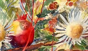 Aquarell Blumen Malen : distel mit granatapfel malerei als poster und kunstdruck von sonja jannichsen bestellen ~ Frokenaadalensverden.com Haus und Dekorationen