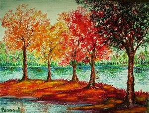 Autumn Landscape Small Drawing Original Oil Pastel by ...