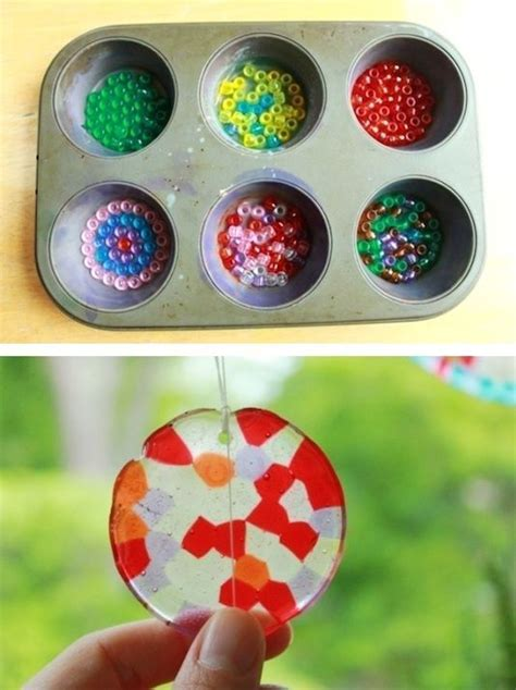 grandkids  older diy sun catchers