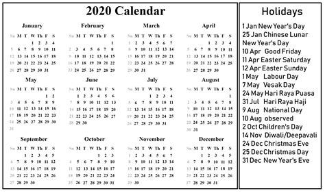 printable singapore calendar excel word